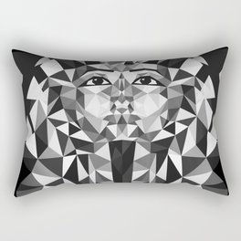 Black and White Tutankhamun - Pharaoh's Mask Rectangular Pillow