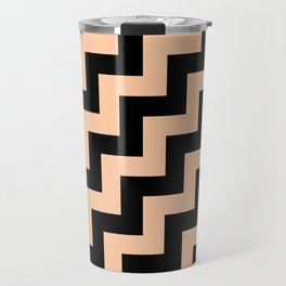 Black and Deep Peach Orange Steps RTL Travel Mug