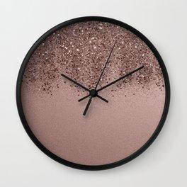 Sparkling Rose Gold Blush Glitter #3 (Photography) #shiny #decor #art #society6 Wall Clock