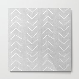 Mudcloth Big Arrows in Grey Metal Print