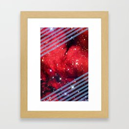 Red Space Lines Framed Art Print