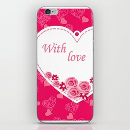 white heart with love iPhone Skin