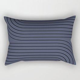 Minimal Line Curvature - Deep Blue & Black Rectangular Pillow