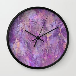 Purple feathers Wall Clock