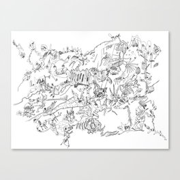 Very detailled surrealism sketchy doodle ink drawing Canvas Print