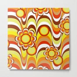 Groovy 60s Psychedelic Flower Metal Print