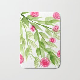 Pink Rosebuds in Watercolor Bath Mat