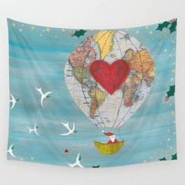 Christmas Santa Claus in a Hot Air Balloon for Peace Wall Tapestry