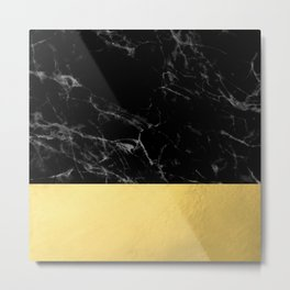 Black Marble & Gold Metal Print
