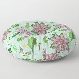 Christmas Collection-Poinsettia & Snowberries Aqua blue Floor Pillow