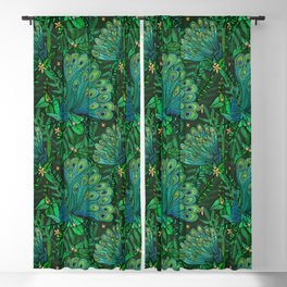 Peacocks in Emerald Forest Blackout Curtain