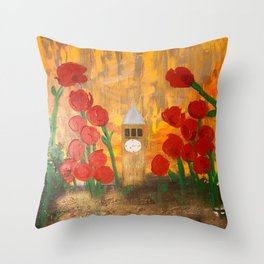 150 Years of CU - An Alumni Anniversary Tribute with Red Tulip Flowers Throw Pillow