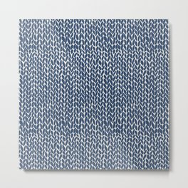 Hand Knit Navy Metal Print