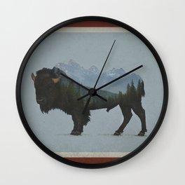 Wyoming Bison Flag Wall Clock