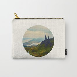 Mid Century Modern Round Circle Photo Magical Landscape Volcanic Mountains Rolling Green Hills Carry-All Pouch