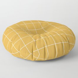 Small Grid Pattern - Mustard Yellow Floor Pillow