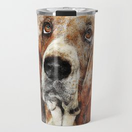 Cute Abstract Bassett Hound Dog Travel Mug