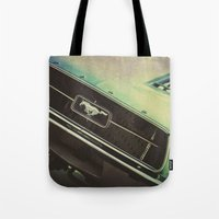 mustang Tote Bags featuring Galaxy Mustang by Honey Malek