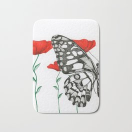 Three Poppies and Half a Butterfly Bath Mat