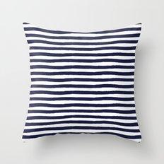 Navy Blue and White Horizontal Stripes Throw Pillow