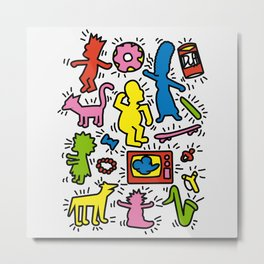 Keith Haring & Simpsons Metal Print