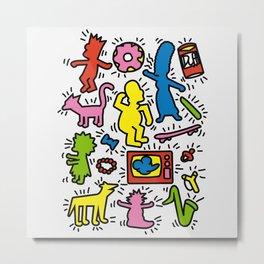 Keith Haring & Simpsons Metal Print