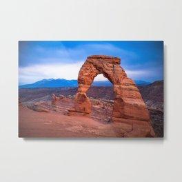 Delicate - Delicate Arch Glows on Rainy Day in Utah Desert Metal Print