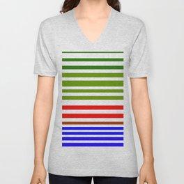 Red white blue and green stripes Unisex V-Neck