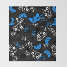 Video Game Blue on Black Throw Blanket