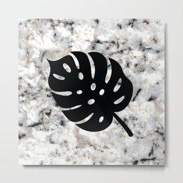 Tropical Leaves on Marble - Monstera I Metal Print
