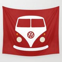 volkswagen Wall Tapestries featuring Volkswagen Split Bus by Nick Steen