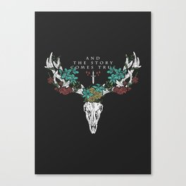 Deer Skull & Flowers Canvas Print