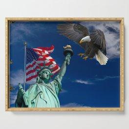 Bald Eagle a Lady Liberty Serving Tray