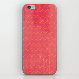Pink yellow watercolor hand painted zigzag pattern iPhone Skin