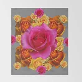 OLD GOLD-YELLOW & PINK ROSES ON GREY Throw Blanket
