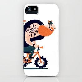 Big biker on a small bike iPhone Case