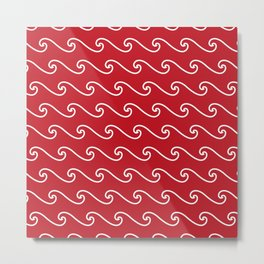 Wave Pattern | Waves | Nautical Patterns | Red and White | Metal Print