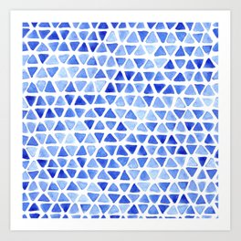Triangle Watercolor Seamless repeating Pattern - Blue Art Print