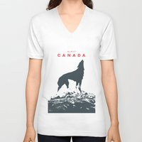 canada V-neck T-shirts featuring Visit Canada by ahutchabove