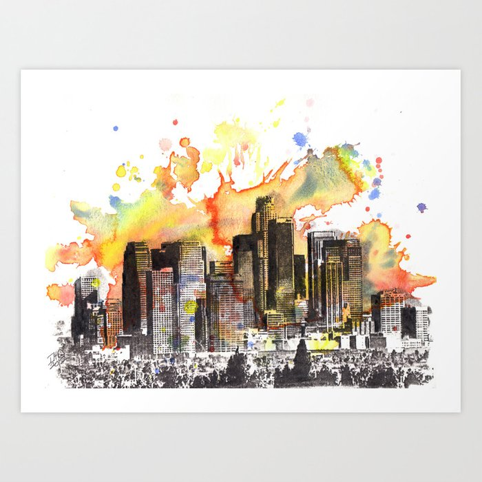 Los Angeles Cityscape Skyline Painting Art Print By