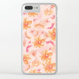 Pink Coral Floral Clear iPhone Case