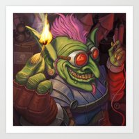 warcraft Art Prints featuring The Firework Maker Goblin by foreest