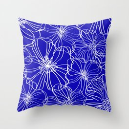 Floral, Line Art, Blue and White, Minimal Art Throw Pillow