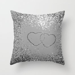 In Love Sparkling Glitter Hearts #3 (Faux Glitter) #silver #decor #art #society6 Throw Pillow