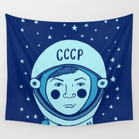 valentina Wall Tapestries featuring Valentina Tereshkova by Emma Falconer