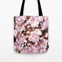 rose gold Tote Bags featuring Rose And Gold Floral by J&C Creations