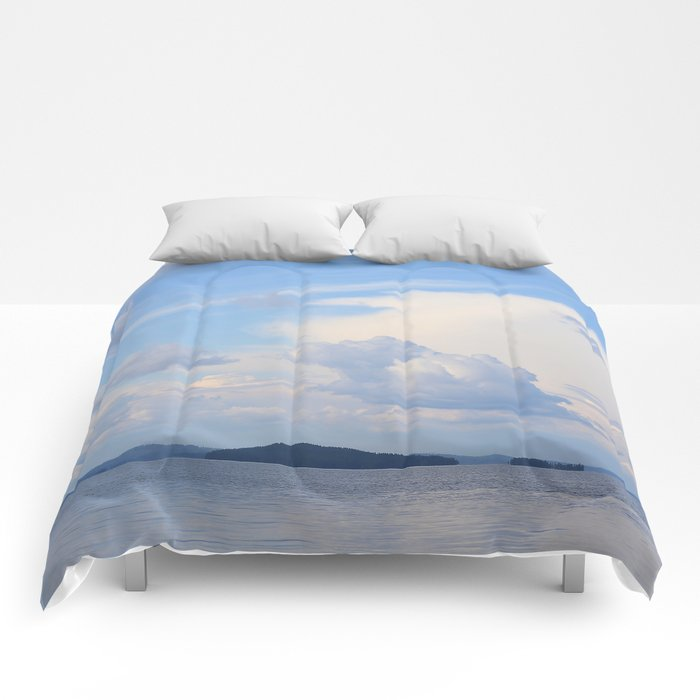 Blue Lakescape With White Clouds In The Blue Sky #decor #society6 Comforters