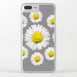 WHITE SHASTA DAISY FLOWERS  DECORATIVE GREY ART Clear iPhone Case
