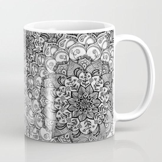 Shades of Grey - mono floral doodle Mug