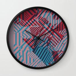 Dazzle Camo #02 - Blue & Red Wall Clock